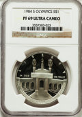 Modern Issues: , 1984-S $1 Olympic Silver Dollar PR69 Ultra Cameo NGC. NGC Census:(3616/102). PCGS Population (3620/65). Mintage: 1,801,210...