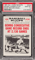 Baseball Cards:Singles (1960-1969), 1961 Nu-Card Scoops Lou Gehrig #424 PSA Gem MT 10 - Pop Three! ...