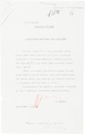 Autographs:Non-American, Nikita Khrushchev Typed Document Signed....