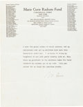 Autographs:Inventors, Marie Curie Typed Statement Signed....