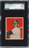 Baseball Cards:Singles (1940-1949), 1949 Bowman Tommy Henrich #69 SGC 92 NM/MT+ 8.5 - Pop One, HighestSGC on Record! ...