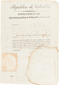 Autographs:Non-American, Simón Bolivar Military Appointment Signed....