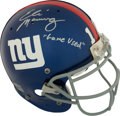 Football Collectibles:Helmets, 2004 Eli Manning Game Worn, Signed and Inscribed New York Giants Rookie Helmet - With Steiner COA!...
