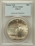 Modern Issues: , 1986-P $1 Statue of Liberty Silver Dollar MS69 PCGS. PCGSPopulation (4099/155). NGC Census: (3460/216). Mintage: 723,635....
