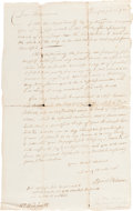 Autographs:Military Figures, [Israel Putnam]. Dictated Letter Written by His Son, Daniel Putnam....