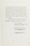 Autographs:Celebrities, Howard Hughes, Louis B. Mayer, Howard W. Hawks Typed BusinessContract Signed....
