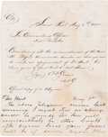 Autographs:Military Figures, George Armstrong Custer Autograph Letter Signed...