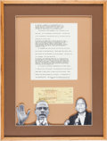 Autographs:Celebrities, Malcolm X Typescript Signed with an Elijah Muhammad Check Signed....