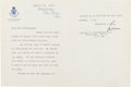 Autographs:Statesmen, Edward M. House Typed Letter Signed ...
