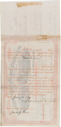 "Autographs:Celebrities, Pioneering Retail Merchant Marshall Field Stock Certificate TwiceSigned ""Marshall Field.""..."