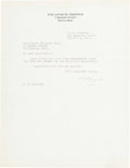 """Autographs:Celebrities, Richard E. Byrd Typed Letter Signed """"R. E. Byrd.""""..."""
