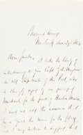 "Autographs:Military Figures, Daniel Edgar Sickles Autograph Letter Signed ""D. Sickles.""..."