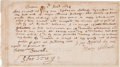 Autographs, Samuel Sewall Document Signed ...