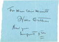 "Autographs:Authors, Willa Sibert Cather Autograph Endorsement Signed ""For Miss Elsie Merritt / Willa Cather / New York / August 5th.""..."