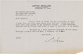 "Autographs:Authors, Upton Sinclair Typed Letter Signed ""Upton.""..."