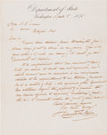 "Autographs:Statesmen, Hamilton Fish Autograph Letter Signed as Secretary of State""Hamilton Fish.""..."