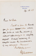 """Autographs:Statesmen, William Gladstone Autograph Letter Signed as Prime Minister """"W. Gladstone.""""..."""