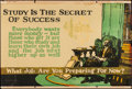 """Movie Posters:Miscellaneous, Study is the Secret of Success (Mather and Company, 1923).Motivational Poster (28"""" X 41.5""""). Miscellaneous.. ..."""