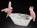 Lapidary Art:Carvings, ROSE QUARTZ COCKATOOS on VERY LARGE ROCK CRYSTAL BOWL. Artist:Peter Müller . Stone Source: Brazil . ...