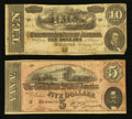 Confederate Notes:1864 Issues, T68 $10 1864. T69 $5 1864.. ... (Total: 2 notes)