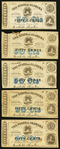 Obsoletes By State:Alabama, Montgomery, AL- State of Alabama 50¢ Jan. 1, 1863 Five Example. ... (Total: 5 notes)