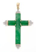 Estate Jewelry:Pendants and Lockets, Jadeite Jade, Diamond, Gold Cross Pendant. ...