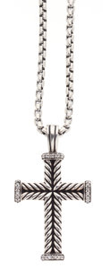 Estate Jewelry:Necklaces, Diamond, Sterling Silver Cross Necklace, David Yurman . ...