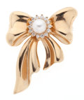 Estate Jewelry:Brooches - Pins, Cultured Pearl, Diamond Brooch. ...