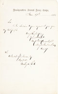 Autographs:Military Figures, Winfield Scott Hancock Autograph Letter Signed. ...