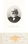 Autographs:Authors, Henry Wadsworth Longfellow Signed Check. ...