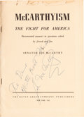 Autographs:Statesmen, Joseph McCarthy Signed Copy of McCarthyism: The Fight forAmerica. ...