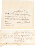 Militaria, [Revolutionary War] Group of Two Items including: Revolutionary War Pay Receipt. ...