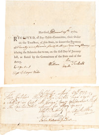 [Revolutionary War] Group of Two Items including: Revolutionary War Pay Receipt