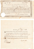 Militaria, Two State of Connecticut Revolutionary War Pay Receipts. ...