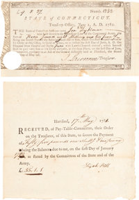 Two State of Connecticut Revolutionary War Pay Receipts