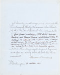 Autographs:U.S. Presidents, Grover Cleveland Document Signed as President....