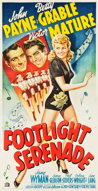 "Footlight Serenade (20th Century Fox, 1942). Three Sheet (41"" X 79"")"