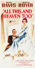 "Movie Posters:Drama, All This, and Heaven Too (Warner Brothers, 1940). Three Sheet(41.5"" X 79"").. ..."
