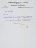 Autographs:Letters, 1910 August Hermann Signed Letter to Famed Photographer Louis VanOeyen....