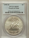Modern Issues: , 1995-D $1 Olympic/Track & Field Silver Dollar MS69 PCGS. PCGSPopulation (957/154). NGC Census: (525/230). Numismedia Wsl....
