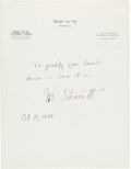 Autographs:Non-American, Moshe Sharett Autographed Note Signed ...