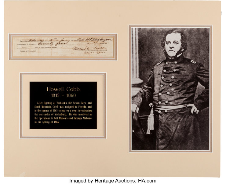 Howell Cobb Partial Document Signed     Autographs Military