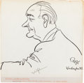 Autographs:U.S. Presidents, Lyndon B. Johnson Signed Original Sketch by Oscar Berger. ...