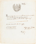 Autographs:Inventors, Alessandro Volta Document Signed....