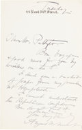 Autographs, August Belmont Jr. Autograph Letter Signed. ...
