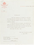 Autographs, Pope Pius XII Typed Letter Signed ...