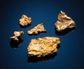 Minerals:Golds, NATIVE GOLD - A GROUP OF NUGGETS. Origin Unknown. ...