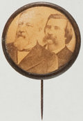 Political:Ferrotypes / Photo Badges (pre-1896), Blaine & Logan: Unusual Cardboard Jugate Stickpin. ...