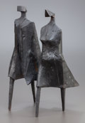 Sculpture, LYNN CHADWICK (British, 1914-2003). Walking Couple III, 1987. Bronze with black patina. 16-1/2 x 10 x 7 inches (41.9 x 2...