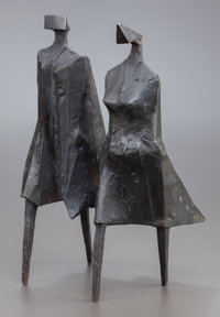 LYNN CHADWICK (British, 1914-2003) Walking Couple III, 1987 Bronze with black patina 16-1/2 x 10